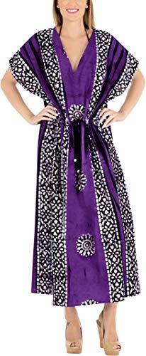 LA LEELA Damen Kaftan Tunika Kimono Kleid Sommer Abend Party Hand Batik - Violett - Einheitsgröße 18/26W (XL/4X) -