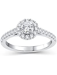 Perfect Love Diamond Collection Women's 18 ct Gold Round Diamond Halo Ring with Diamond Shoulders