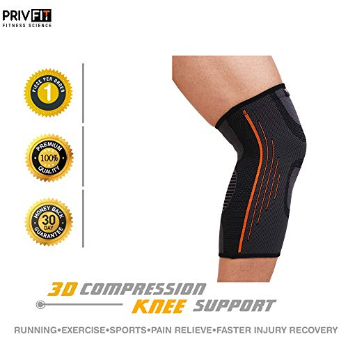 Privfit Protective Compression Knee Cap Brace Sleeve Support with Silicon Anti-Slip Protection (Grey)