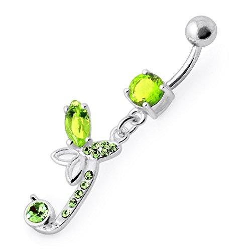 Barres de Pierre en cristal papillon tendance Design 925 argent Sterling avec le ventre en acier inoxydable Light Green