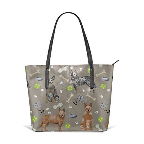 Damen Schultertasche aus weichem Leder Australian Cattle Dog Blau und Rot Fersen und Spielzeug - Medium Brown Fashion Handtaschen Satchel Purse