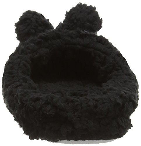 Eaze By Spot On Pom Pom Fluffy Mule Damen Hausschuhe Schwarz (Black)
