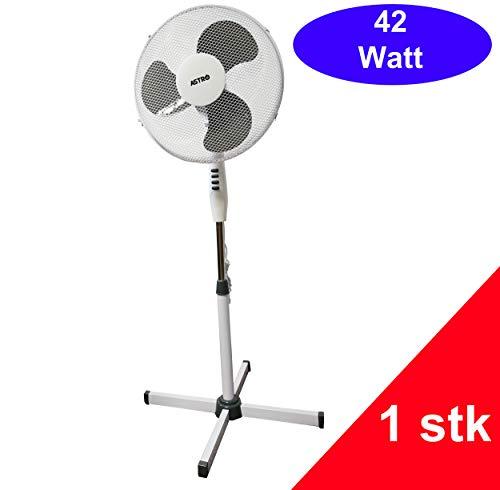 Standventilator 42 Watt Ventilator Klima Lüfter Klimagerät Windmaschine NEU (1 Stk, weiß/grau)