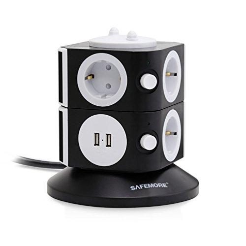 SAFEMORE Schaltbare Steckdosenleiste 7 Fach Steckdosenturm Mehrfachsteckdose 2 USB Anschlüsse mit Überspannungsschutz(Schwarz+Weiß)