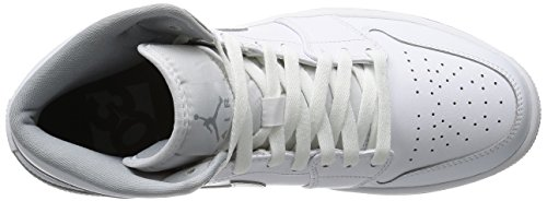 Nike Air Jordan 1 Mid, Chaussures de Sport Homme Blanc (Blanc/Blanc-Wolf Grey)