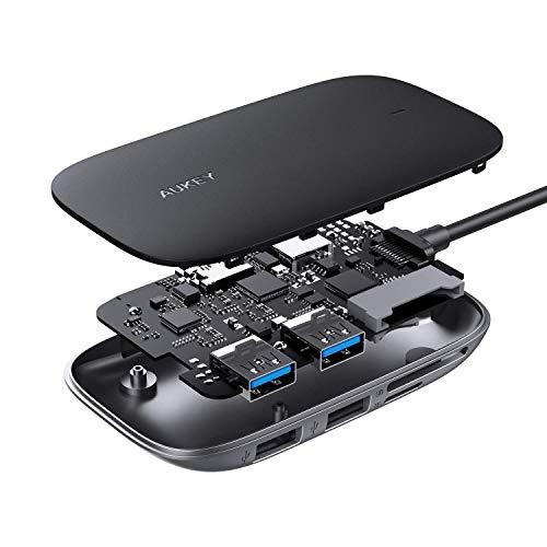 AUKEY Hub USB C Adattatore 6 in 1 con 3 Porte USB 3.0,Slot Schede SD e MicroSD,Porta HDMI Adattatore USB C Compatibile con MacBook Pro,Dell XPS 15,Google Chromebook Pixel,Samsung S9/S8 e LG G6/G5 ecc.