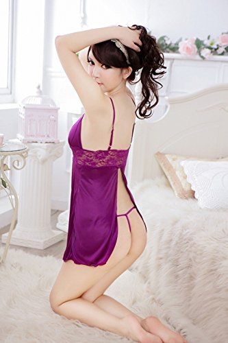 Shangrui Femminile Viola Pigiami di Seta Sling Lace Underwear W535 Viola