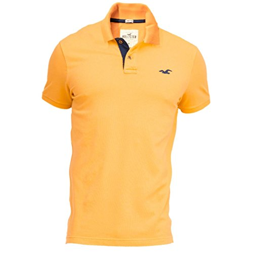 hollister-homme-stretch-contrast-pique-polo-top-shirt-courte-taille-large-orange-623321599