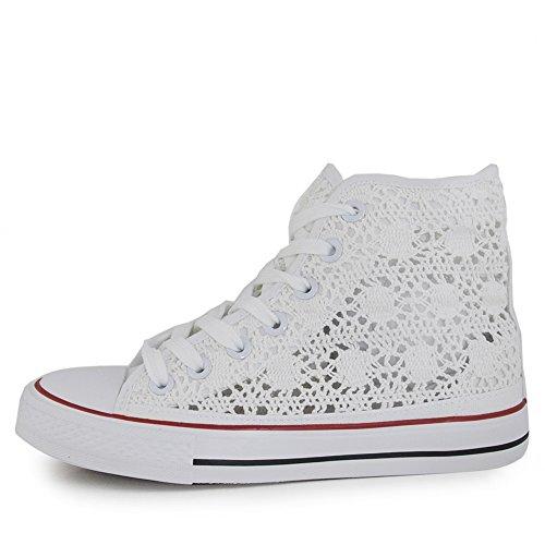 scarpe-da-donna-estive-traforate-ginnastica-sneackers-pizzo-merletto-38-bianco