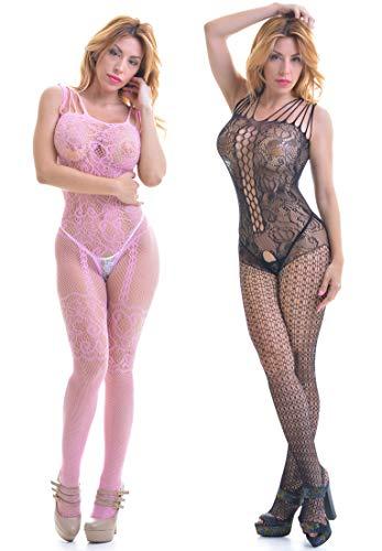 ANAMEL 2er-Pack Sexy Bodystocking für Damen, offener Schritt, Catsuit - Dessous-Set für Damen, erotische Strumpfhosen für den ganzen Körper - sexy Dessous, Bodystocking mit Öffnungen (Schwarz - rosa) -
