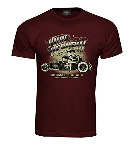 King Kerosin T-Shirt Greaser Garage Burgundy