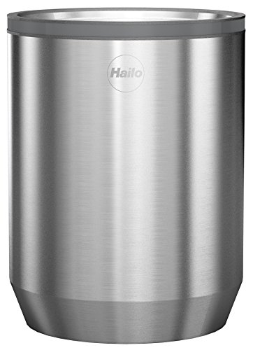 Hailo KitchenLine Design Plus Vorratsdose 1l, gebürstetes Edelstahl, luftdicht schließender Deckel mit Sichtfenster, lebensmittelecht, 0833-100