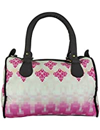 Chelsey Chelsey Pink And White Abstract Printed Speedy Stylish Handbag For Women And Girls