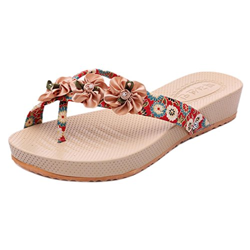 Webla Strand Flip Flop Hausschuhe Mode Sandalen Frauen Bohemia Slipper Blumen Freizeit Lady Sandalen Outdoor Beach Toepost Schuhe Rot