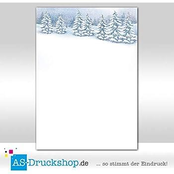 25 Blatt DIN A4 Wald mit Schnee Designpapier Winter