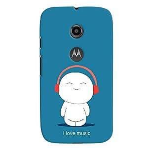 ColourCrust Motorola Moto E2 Mobile Phone Back Cover With I Love Music - Durable Matte Finish Hard Plastic Slim Case