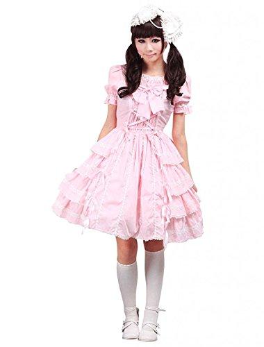 Cemavin Süße rosa Lolita OP Kleid Kurzarm Rüschen Design -