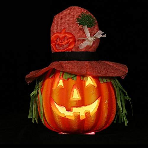 Mobestech Halloween Kürbis Lampe Glowing Foam LED Sounding Kürbis Lichter mit rosa Hut für Halloween Haunted House Dekoration -