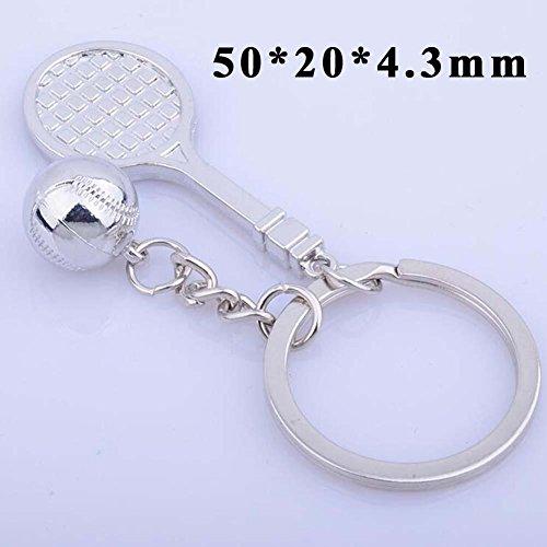 QJONKE 6 Stücke Metall Tennis Tennisschläger Form Schlüssel Anhänger Schlüsselanhänger Schlüsselanhänger Anhänger Schmuck - Anhänger-reifen-halter