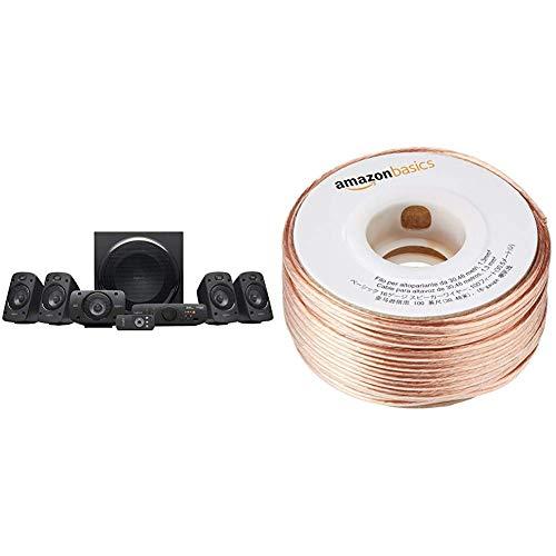 LogitechZ9063D-Stereo-Lautsprecher (mit 5.1Dolby SurroundSound, THX, 1000W, ideal für Fernseher und Wohnzimmereinrichtungen) & AmazonBasics Lautsprecherkabel 1,3 mm² / 16 Gauge, 30,48 m (100 Fuß) (Surround-sound-system 1000w)