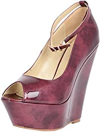Vincenzio Robertina Women's Deep Pink Leather Peeptoes