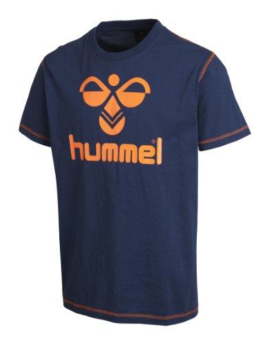 Hummel Herren T-Shirt Classic Bee Tee, Blau(dark denim/ orange), S, 08-467-7642 (Life Shirt Denim)