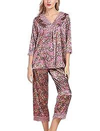 S  2-teilig Shorty  3//4 Hose Baumwolle//Modal  Gr Damen Schlafanzug