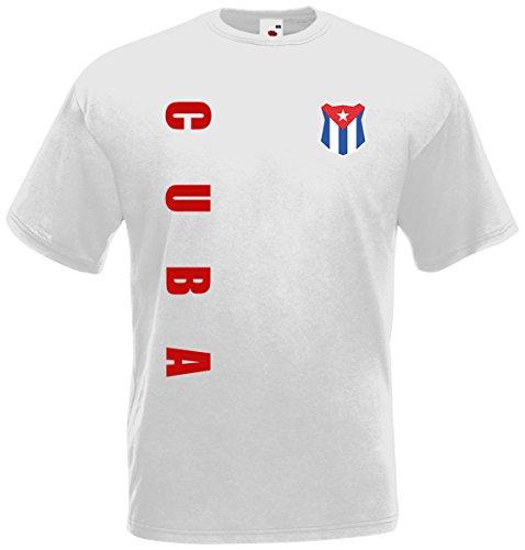 Kuba Cuba T-Shirt Trikot Wunschname Wunschnummer (Weiß, L)