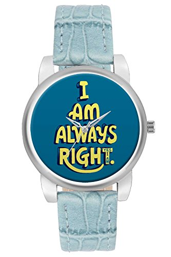Women's Watch, BigOwl I Am Always Right Blue Quirky Designer Analog Wrist Watch For Women - Gifts for her dials