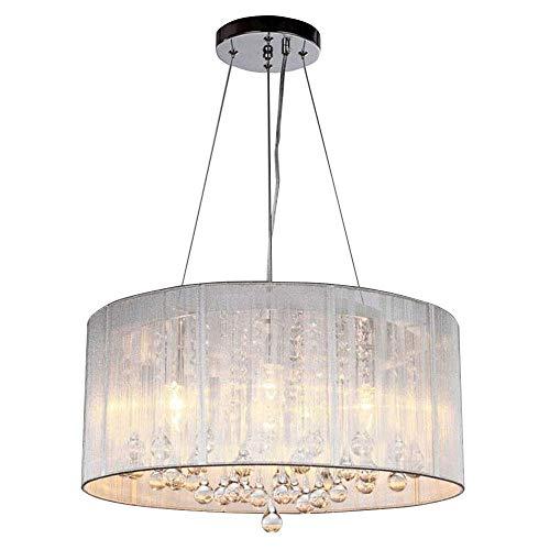 YB Moderne Kristall Pendelleuchte Chrom Runde Design Hängelampe Metall gebürstet Lampenschirm E27 4 Beleuchtung Hängelampe Wohnzimmer Schlafzimmer Esszimmer Konferenzraum Lampe & Phi; 47 * H20Cm -
