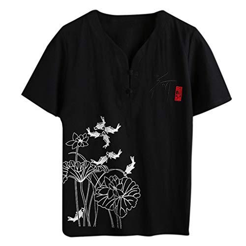 UINGKID Herren T-Shirt Kurzarm Slim fit Mode Herbst Winter Button Casual Leinen und Baumwolle Bluse - Anvil Cotton Tank Top