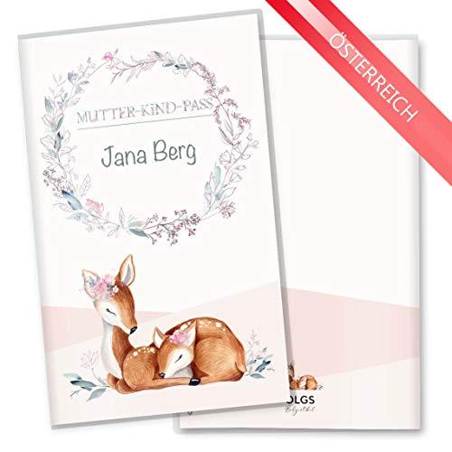 Mutter-Kind-Pass Hülle 3-teilig Rehkitz schöne Geschenkidee zur Schwangerschaft Schutzhülle personalisierbar mit Namen (MuKi-Pass Österreich personalisiert, Lusy) -