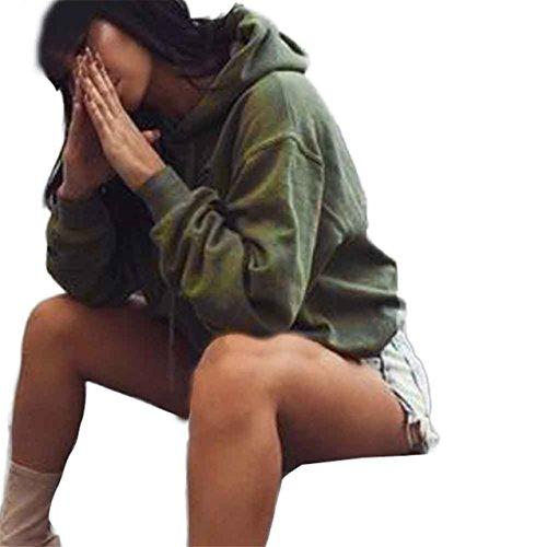 LHWY Donne Felpa con cappuccio Felpa maglia maglione Crop top Coat sport Pullover Top (M, Verde militare)