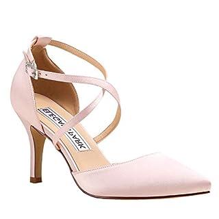 Duosheng & Elegant HC1901 Women Pointed Toe High Heel Court Shoes Cross Strap Satin Wedding Party Bridal Shoes Blush UK 6(EU 39)