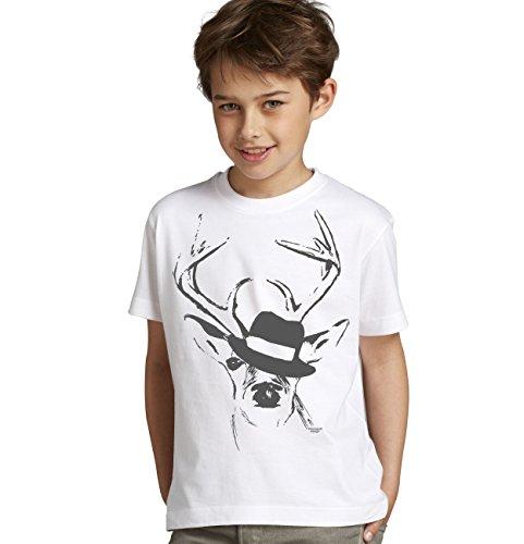 Kinder Jungen Kurzarm Trachten T-Shirt Outfit zum Volksfest Oktoberfest Wiesn :-: Geburtstagsgeschenk Kids :-: Hirsch mit Hut :-: Geschenkidee Teenager :-: Farbe: Weiss Gr: 134/146