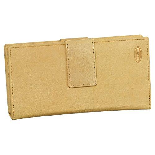 Leder Damen Geldbörse Portemonnaie Geldbeutel XXXL mit Reißverschluss 18,5 cm Farbe beige