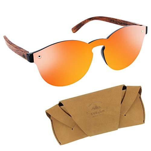 CURVAN Sonnenbrille polarisiert Damen Herren Unisex | Futuristischer Stil ohne Rundrahmen | 100% UV400 Schutz | Bügel aus natürlichem Holz | verspiegelte Gläser, Rot M
