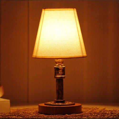 Pointhx Industrielle Retro Wasserleitung Schmiedeeisen Tischlampe Holz Basis Schreibtischlampe mit Tuch Lampenschirm E27 Dimmer Tischleuchte für Wohnzimmer Schlafzimmer Nacht (2 Glas Quadrat Vase)