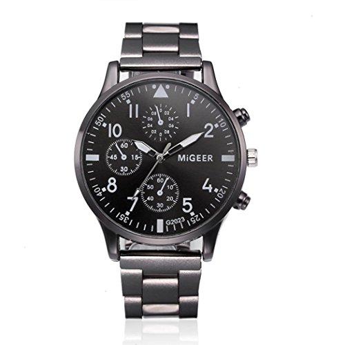 Fashion Man Crystal Stainless Steel Analog Quartz Wrist Watch,Casual Classic Retro Style...