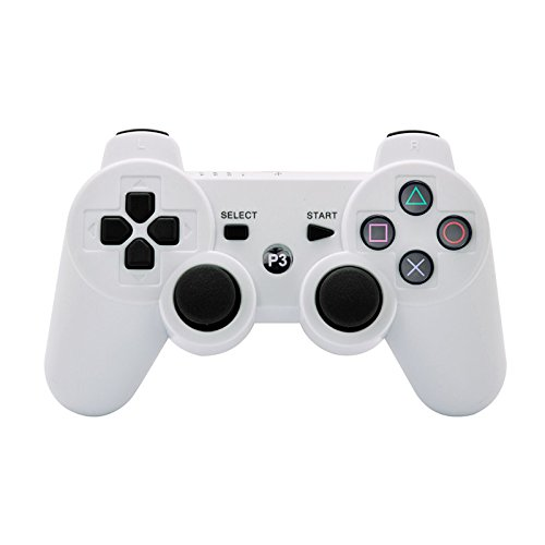 Ameego Portable Double Vibrating Wireless Rechargeable Bluetooth Gamepad Remote Joystick Controller Gamepad For Playstation 3 PS3 - White