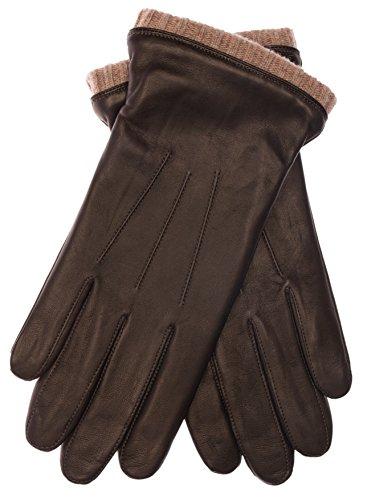 EEM Herren Leder Handschuh BJOERN, aus weichem Haarschafleder, mit Strickstulpe und Fleecefutter, braun beige M Leder-handschuhe Herren Braun