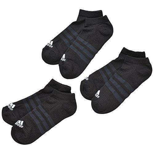 Adidas Sneaker Performance No-Show Half Cushioned 6er Pack, Größe:43-46;Farbe:Black / Black / White (A2280) (Gepolsterte Herren 3-streifen)