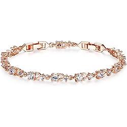 Wostu Damen Armband Zirkonia Steine rosegold