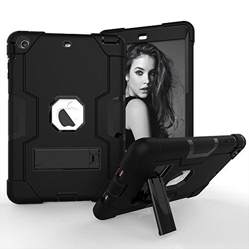 iPad Mini Case, iPad Mini 2Case, iPad Mini 3, beimu 3in1Hybrid, Defender Robuste Hülle Silikon Hard Case Full Body Schutzhülle mit Ständer für Apple iPad Mini 1/2/3, All Black (2 Pokemon Case Ipad Mini)