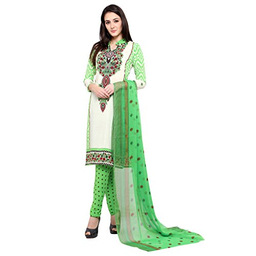 Ishin Women's French Crepe White & Green Printed Unstitched Salwar Suit Dress...