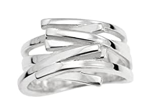 Ornami Sterling Silver Multi Row Square Edged Ring - Size L