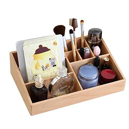 Boîte de Rangement pour Organisateur de Maquillage, Coffret À Bijoux en Hêtre de Comptoir Cosmétiques, pour Pinceaux, Rouge À Lèvres, Fond de Teint, Accessoires