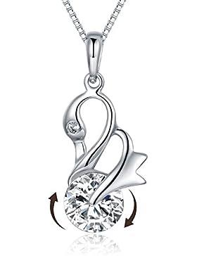JiangXin Tanzen schwäne Kreisen Zirkon Pendant 925 Sterling Silber Damen Anhänger 45cm Kette HalsketteMädchen...