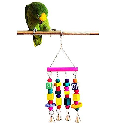 Mebare (TM) 35 * 15cm Colorful Wood Parrot stand Gioco per animali domestici Uccello quadrato divertente con i rifornimenti sfera Giocattoli Accessori