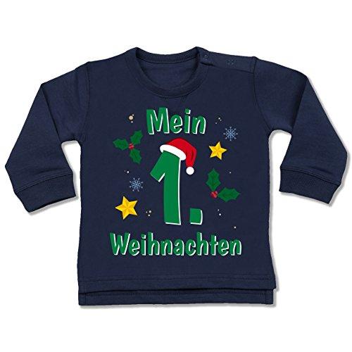 Shirtracer Weihnachten Baby - Mein 1. Weihnachten grün - 6-12 Monate - Navy Blau - BZ31 - Baby Pullover -